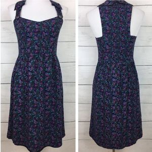 Anthropologie Maple Floral Button Strap Dress